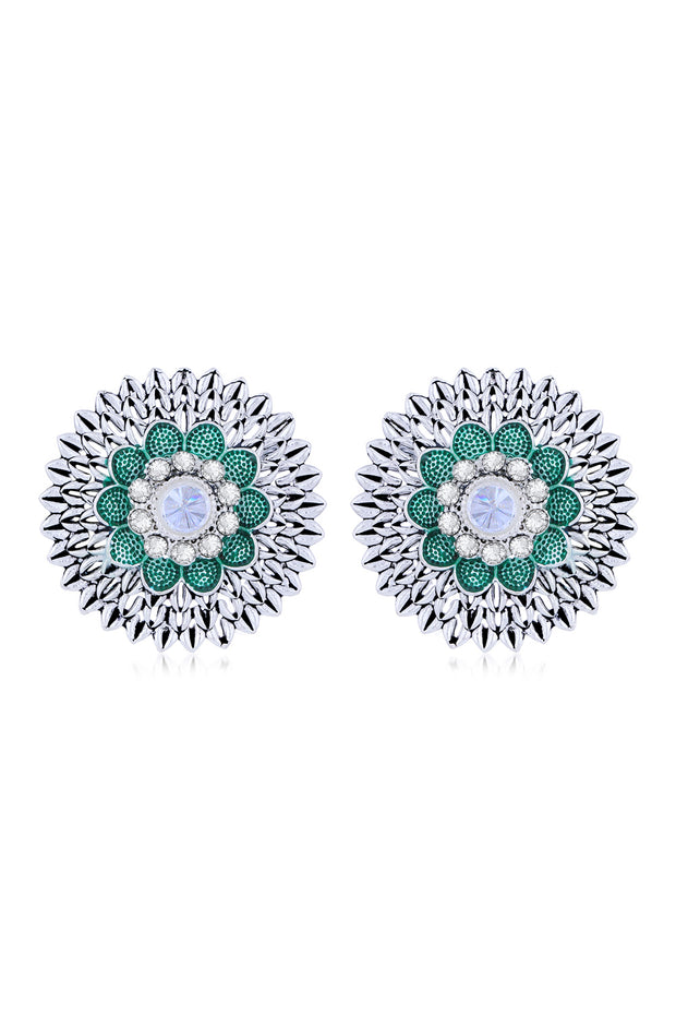 Women's Alloy Studs Earrings in Green