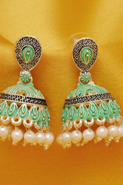 Women's Alloy Jhumka Earrings in Green