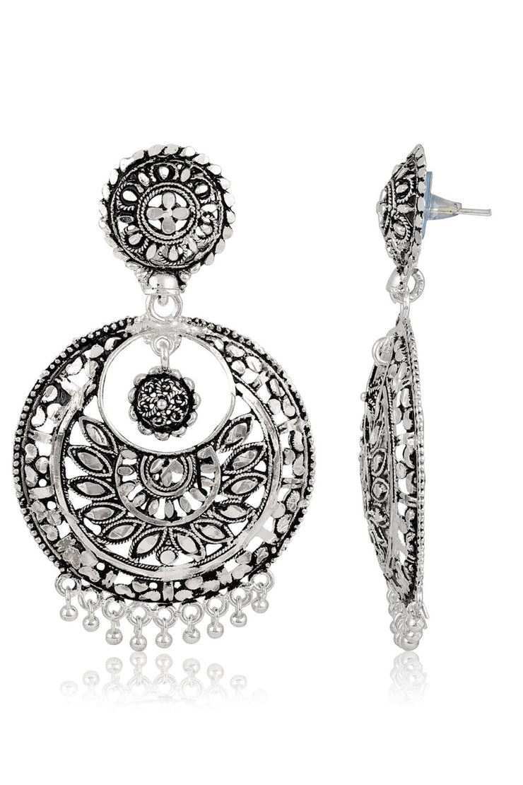 Brass Chandbali Earring in Silver