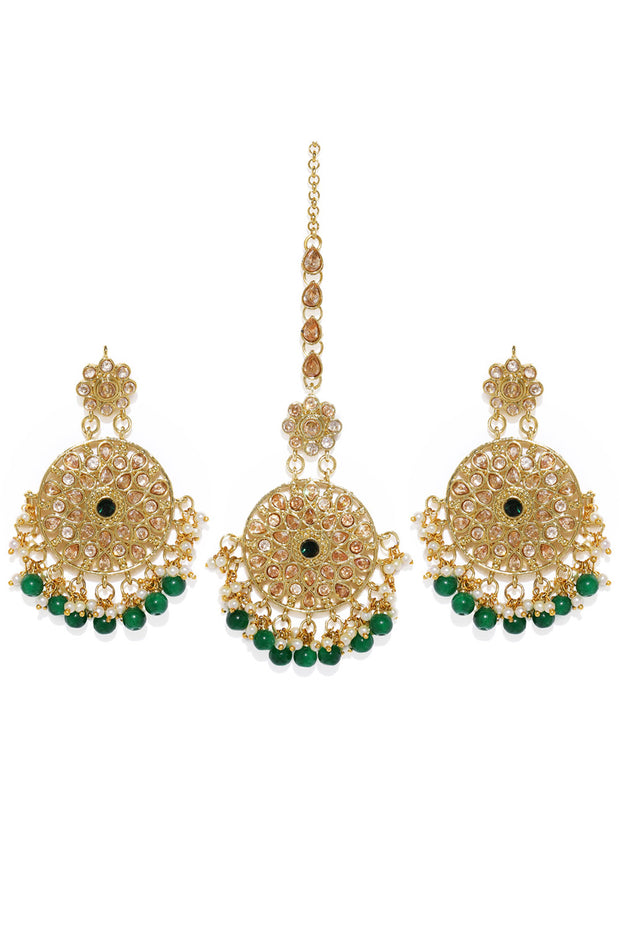 Alloy Earrings and Maang Tikka in Gold