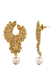 Zinc Earrings with Maangtikka in Gold