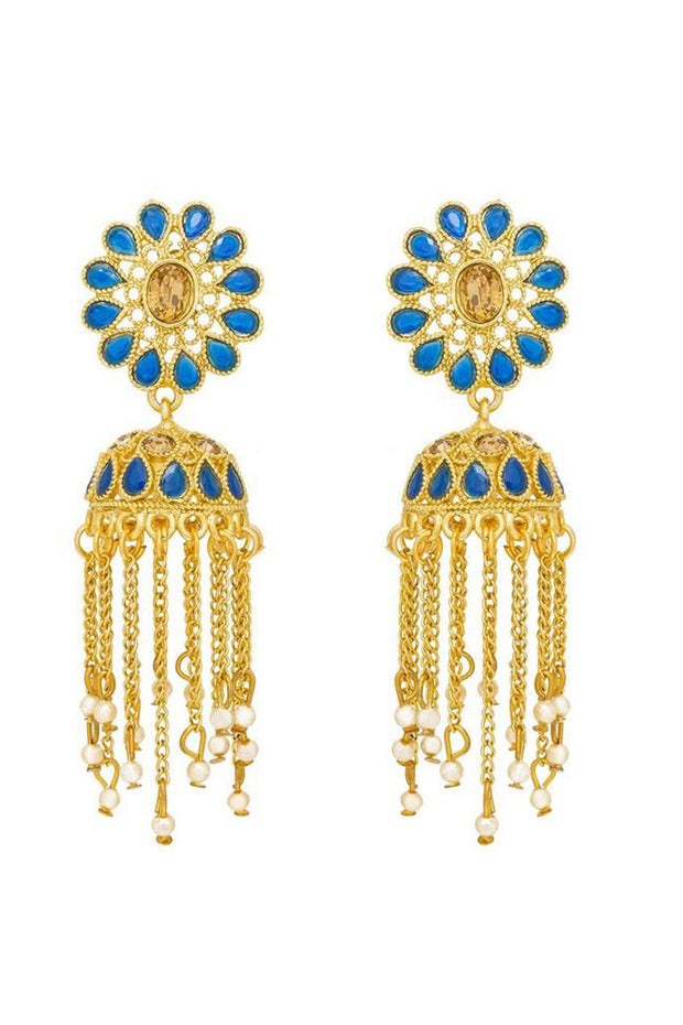 Shop  Alloys Earring For Women's  in Blue and Gold At KarmaPlace