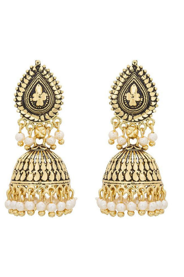 Buy Women's Alloys Earring in Gold and White Online