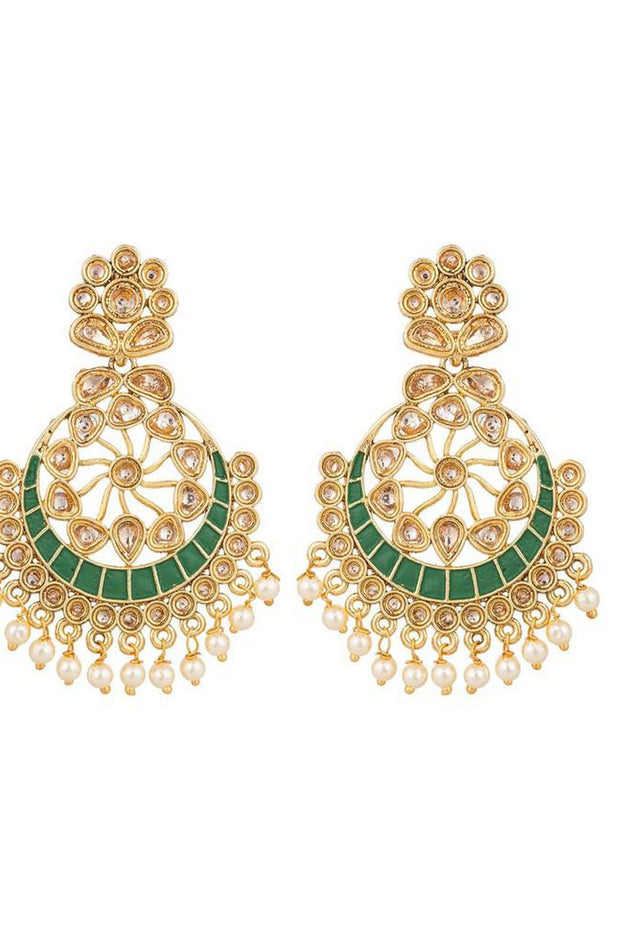 Buy Women's Alloys Earring in Gold and Green Online