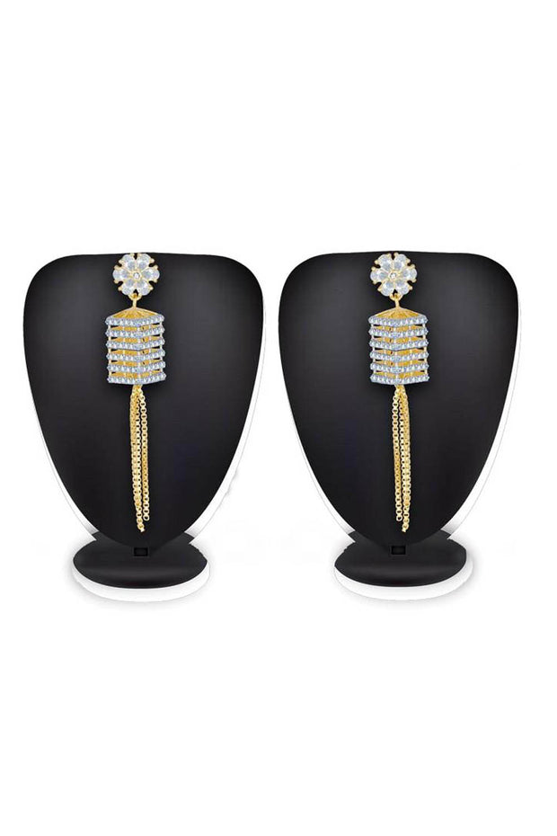 Buy Women's Alloy Earrings in White and Gold Online