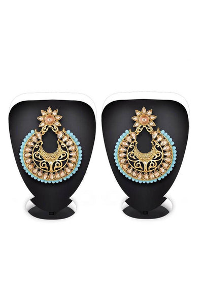 Buy Women's Alloy Earrings in Gold and Turquoise Online