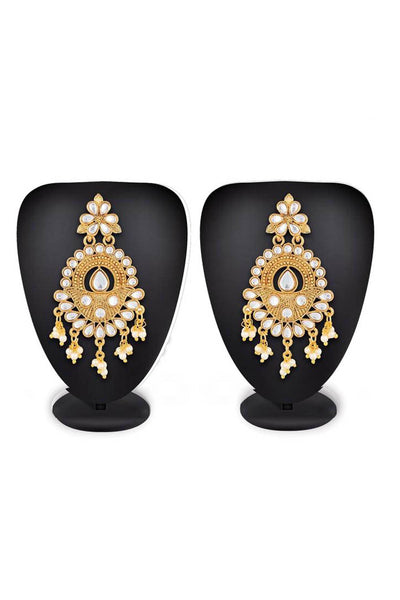 Buy Women's Alloy Earring in Gold and White At KarmaPlace