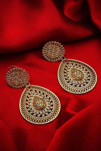 Buy Women's Alloy Large Dangle Earrings in Gold Online