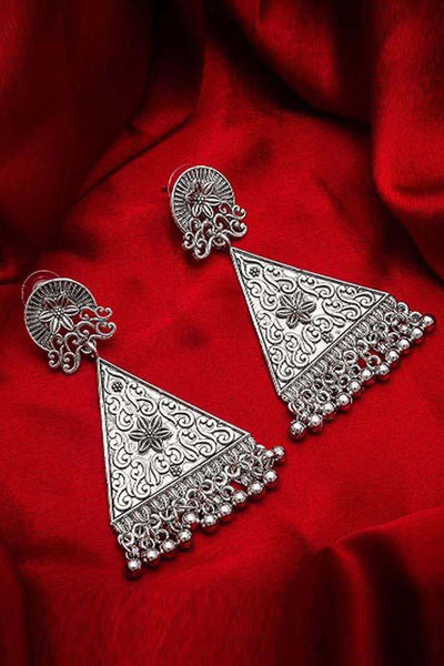 Buy Women's Alloy Large Dangle Earrings in Silver Online