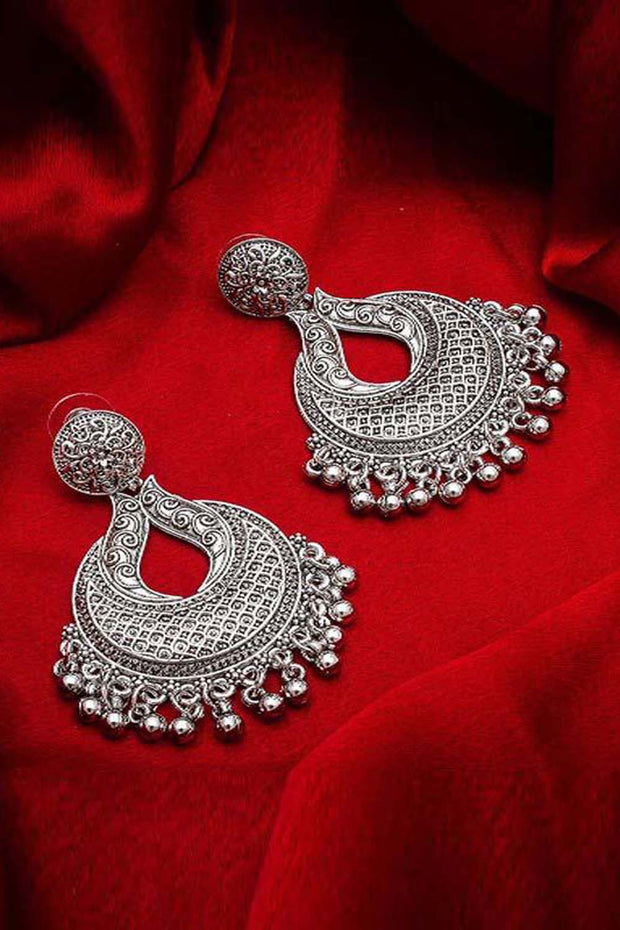 The Luxor Women's Alloy Chandbali Earrings in Silver