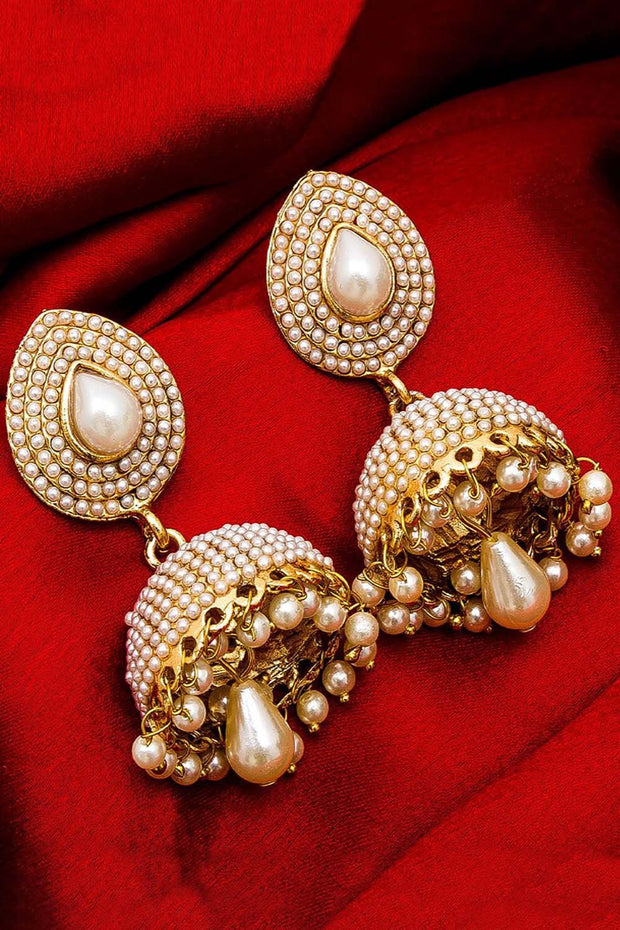 The Luxor Alloy Jhumka Earring in White and Gold