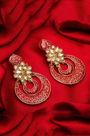 Women's Alloy Large Dangle Earrings in Red and Yellow