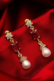 Women's Alloy Large Dangle Earrings in Silver and Gold