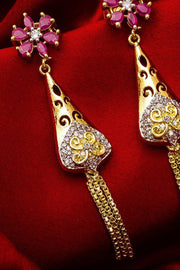 Women's Alloy Drop Earrings in White and Pink