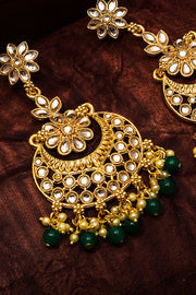 Shop Alloy Chandbali Earring For Women's  in Gold and Green Online