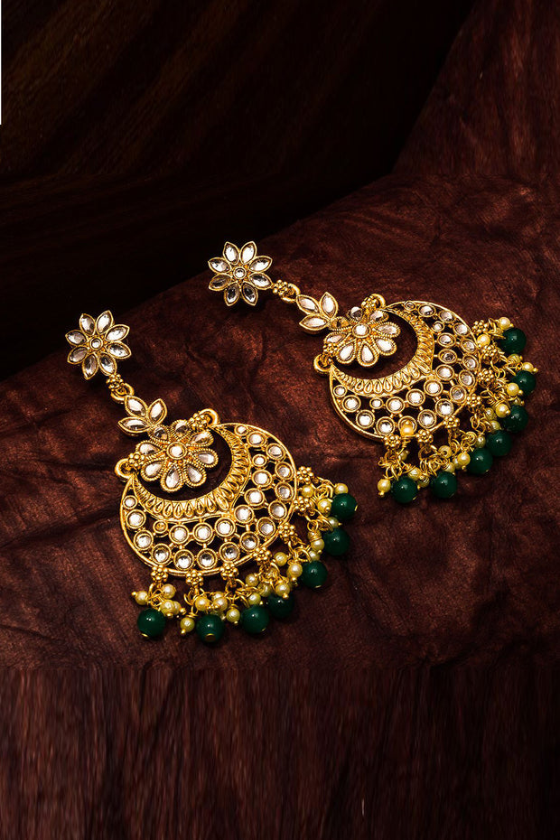 Buy Women's Alloy Chandbali Earring in Gold and Green at karmaPlace