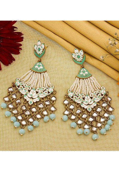 Buy Women's Alloy Large Dangle Earrings in Turquoise Online