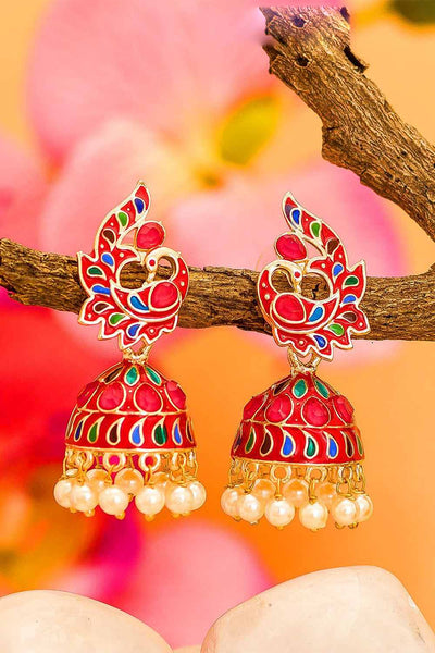 Buy Women's Alloy Jhumka Earrings in Gold and Red