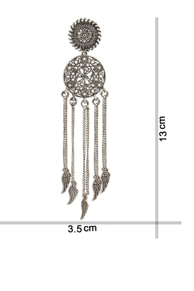 Alloy Drop Earring in Silver