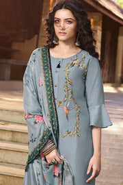 Art Silk Embroidered Top Set in Grey