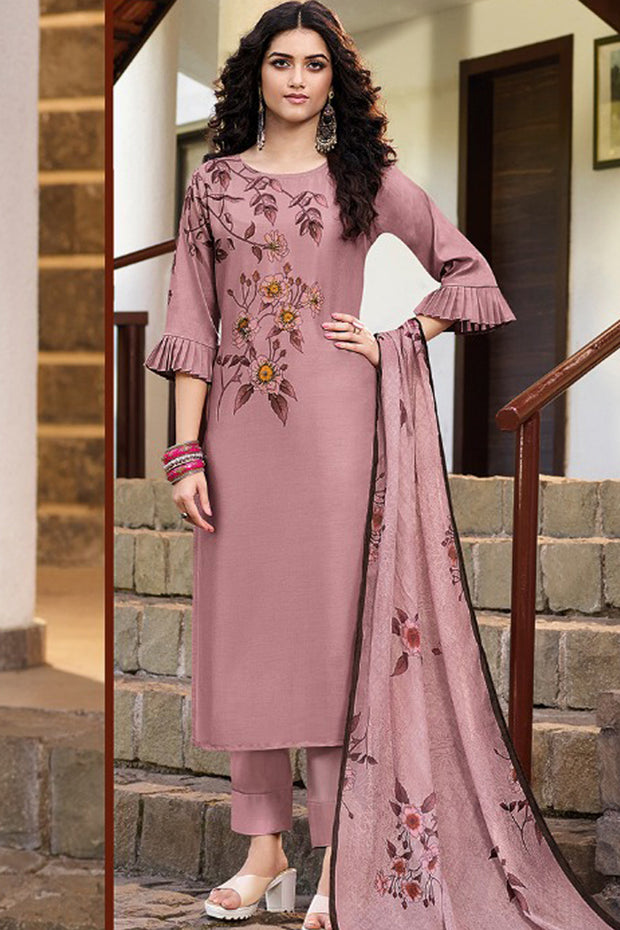 Art Silk Embroidered Top Set in Pink