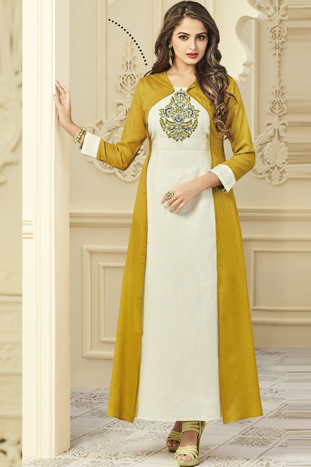 Rayon Embroidered Kurti in Off White