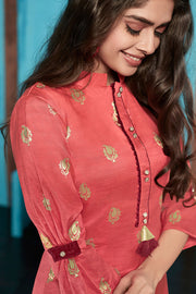 Jacquard Weaving Kurti in Light Red