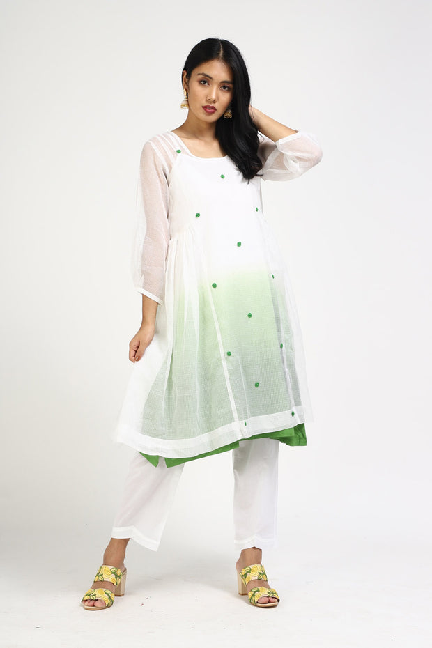 Kota Art Silk Kurta with Pant in White
