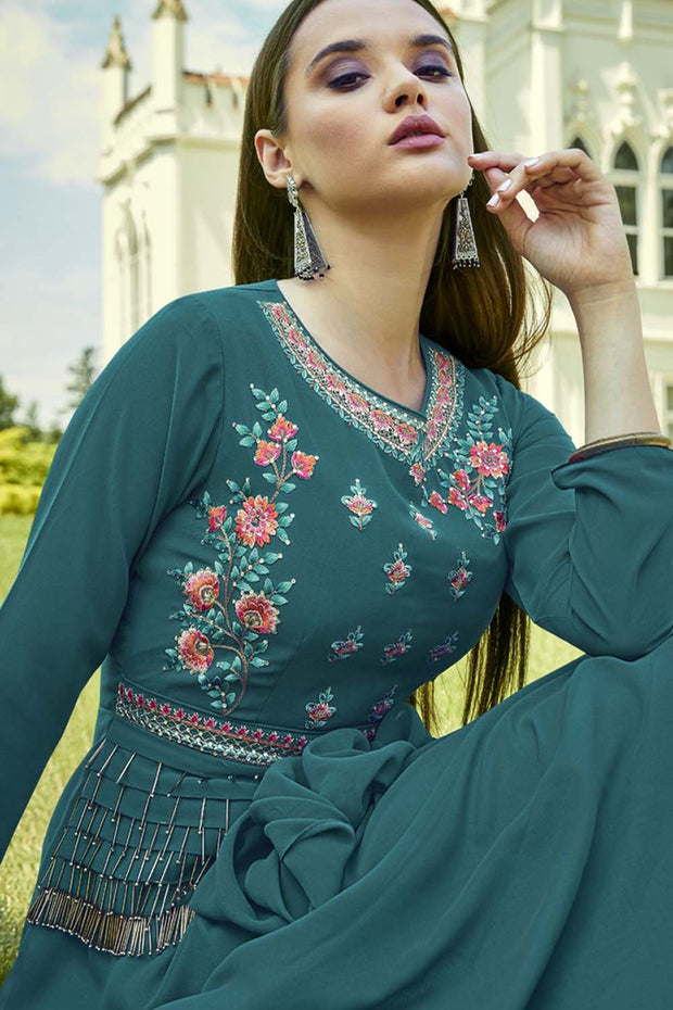 Faux Georgette Embroidered Kurti in Teal Blue