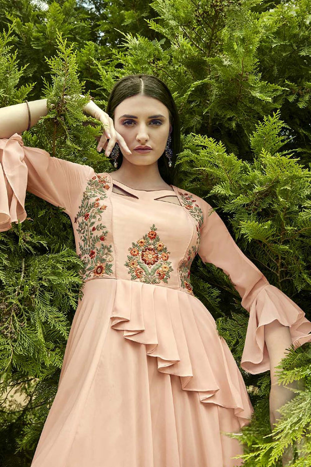 Faux Georgette Embroidered Kurti in Baby Pink