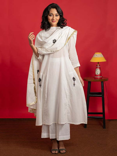 Mulmul Kurta and Palazzo with Dupatta in Ivory