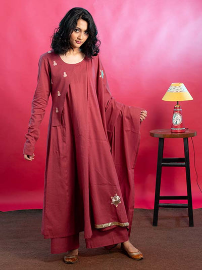 Mulmul Kurta and Palazzo with Dupatta in Dull Maroon