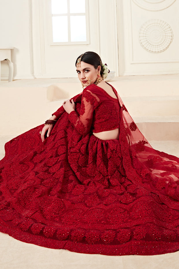 Net Embroidered Lehenga Choli in Dark Red