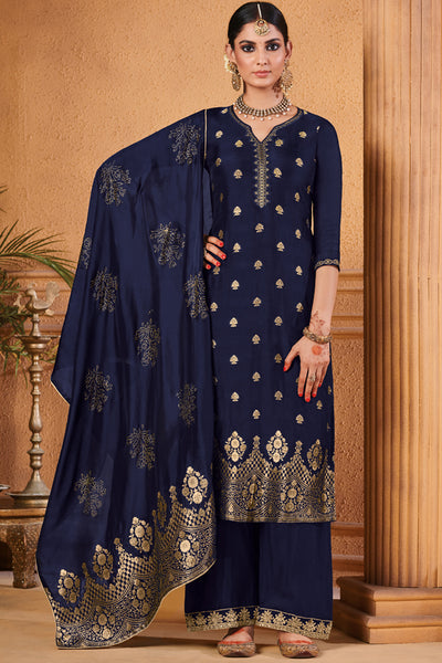 Jacquard Diamond Work Dress Material in Royal Blue