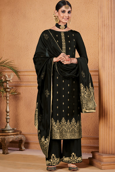 Jacquard Diamond Work Dress Material in Black