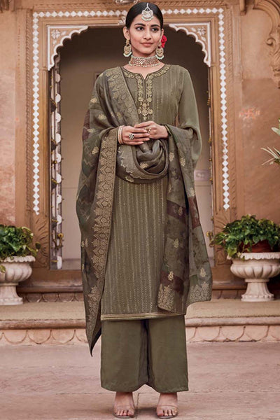 Crepe Embroidered Salwar Suit in Olive