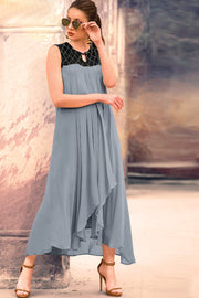 Georgette Weaving Kurti in Grey