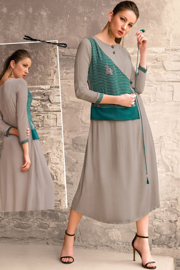 Georgette Embroidered Kurti in Grey