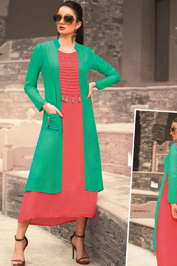 Georgette Weaving Kurti in Green