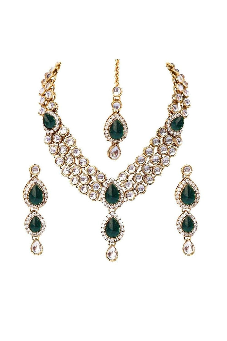 Buy Women's Alloy Necklace Set in Green
