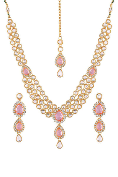 Buy Women's Alloy Necklace Set in Pink