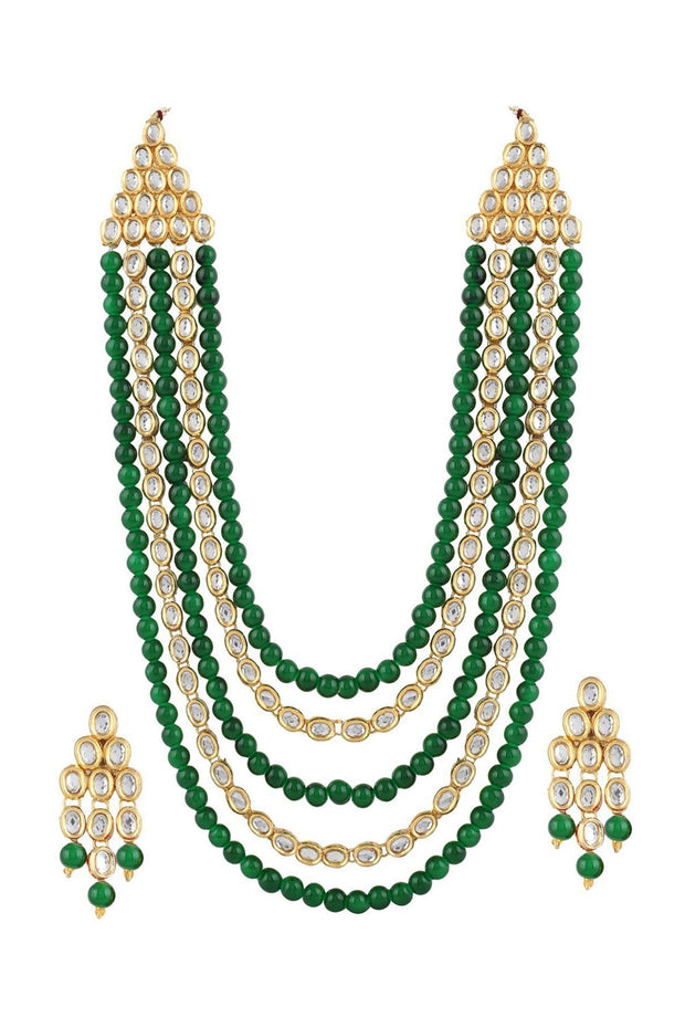 Alloy Necklace with Earrings in green