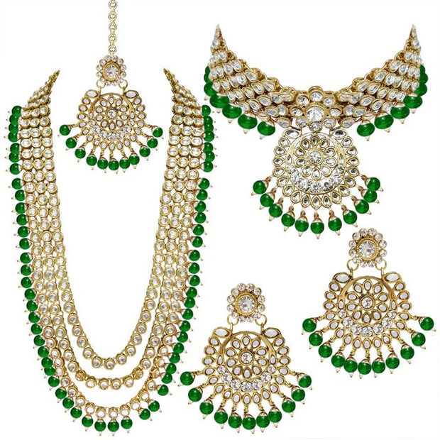 Alloy Necklace with Earrings and Maang Tikka in Green