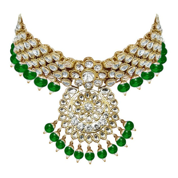 I Jewels Women's Alloy Necklace with Earrings and Maang Tikka in Green