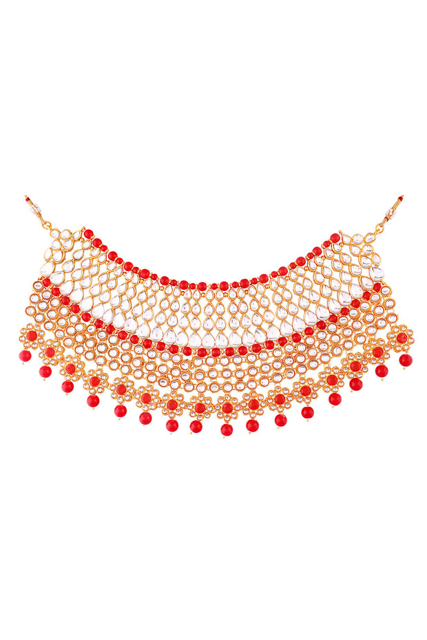 Alloy Necklace with Earrings and Maang Tikka in red