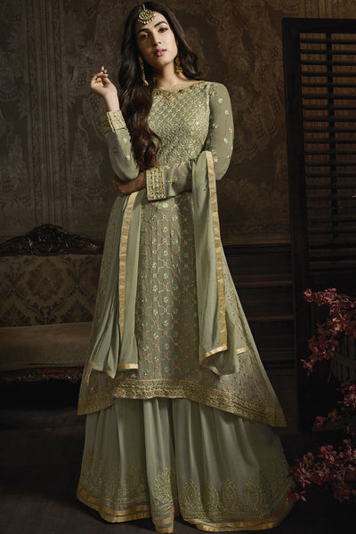 Faux Georgette Embroidered Dress Material in Olive