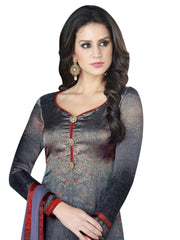 Women's Satin Lace Dress Material in Grey