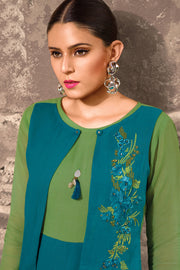 Faux Georgette Embroidered Kurti in Teal