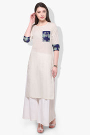 Cotton Digital Print Kurta in White