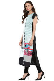 Crepe Digital Print Kurta in Grey and Black